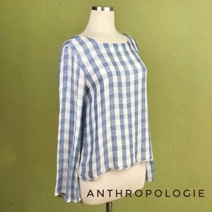 Anthro CLOTH & STONE XS Blue & White Gingham Top